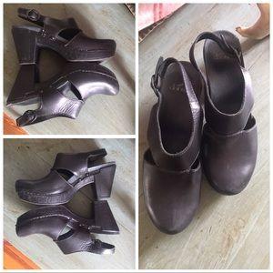 Dansko dressy leather clogs